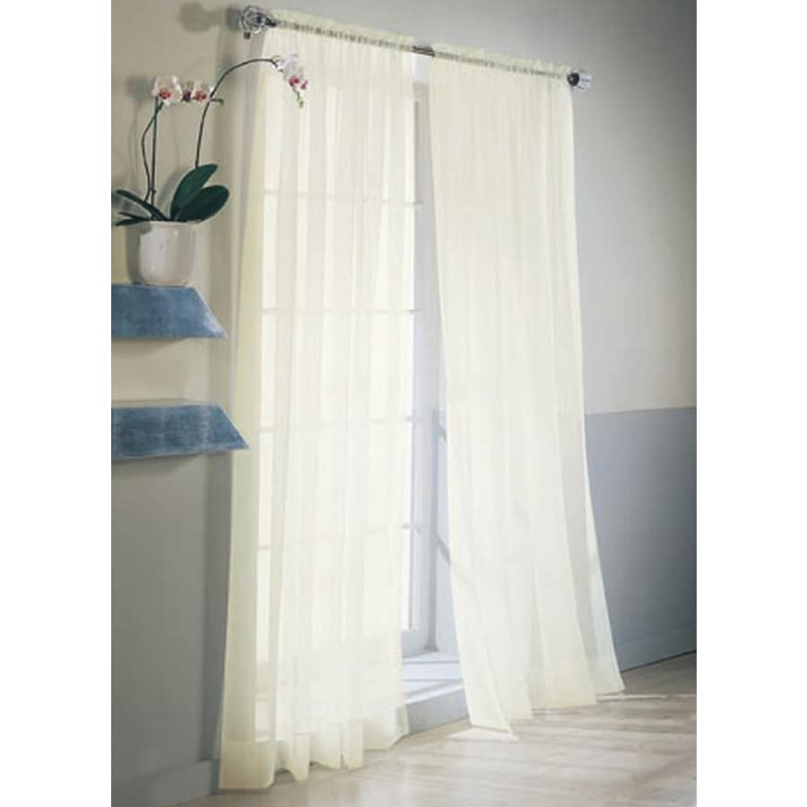 Style Selections High Twist Voile 63-in Eggshell Polyester Rod Pocket Light Filtering Sheer Single Curtain Panel