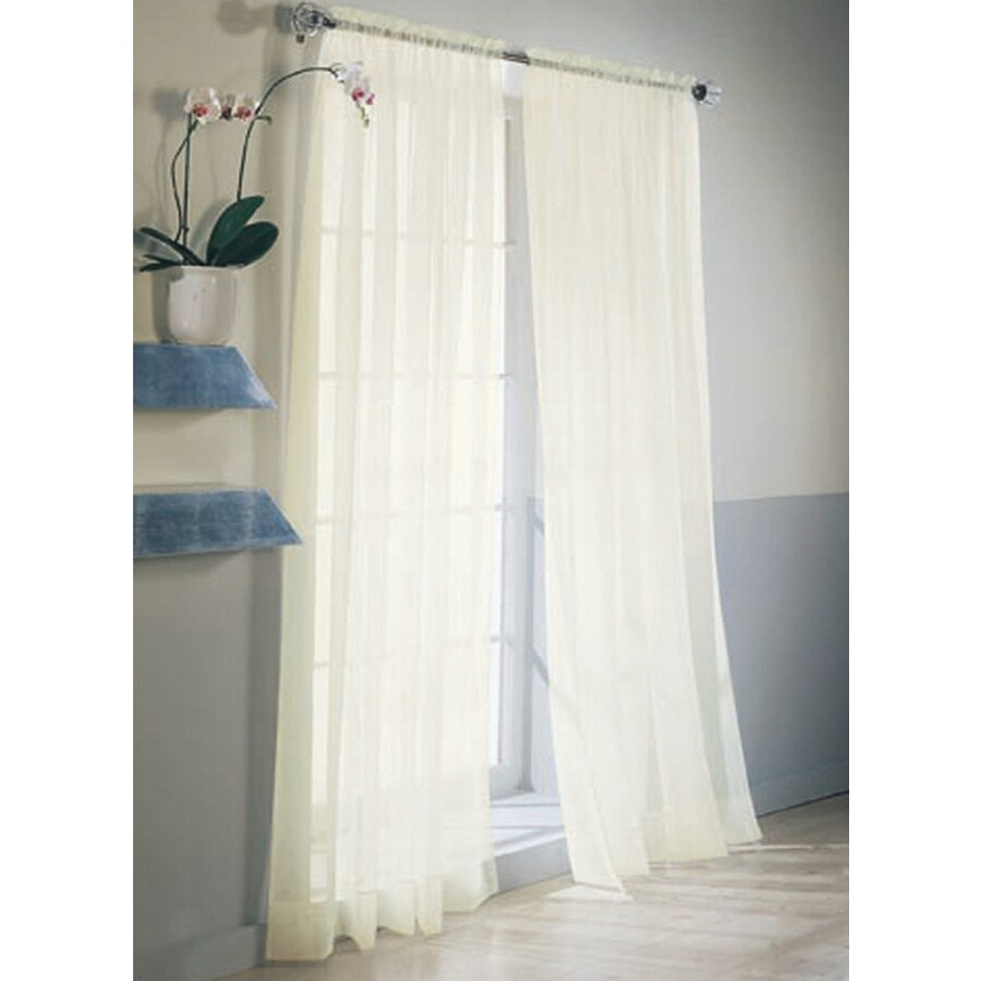 Style Selections High Twist Voile 84-in Eggshell Polyester Rod Pocket Light Filtering Sheer Single Curtain Panel