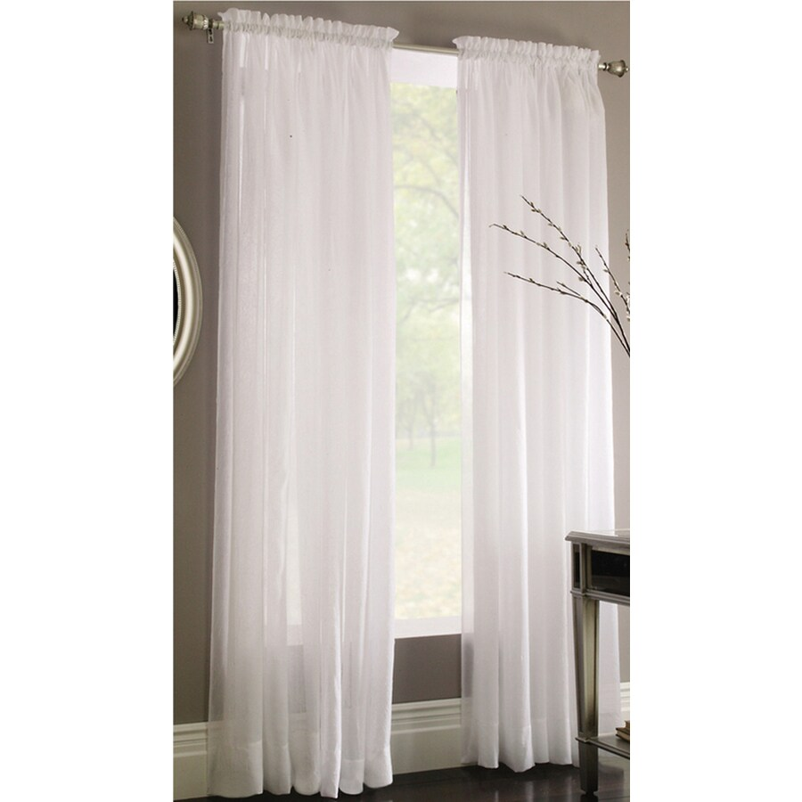 Style Selections Chloe 84-in White Polyester Rod Pocket Sheer Single Curtain  Panel