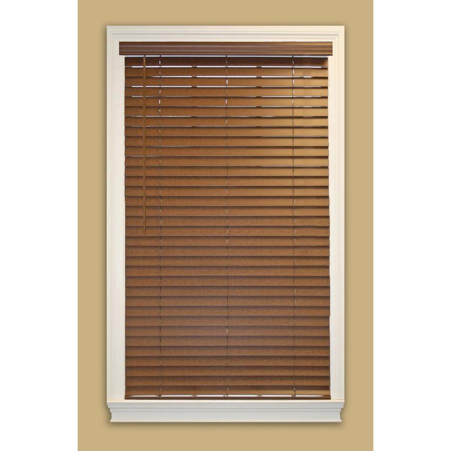 Style Selections 49.5000-in W x 64-in L Bark Faux Wood Plantation Blinds