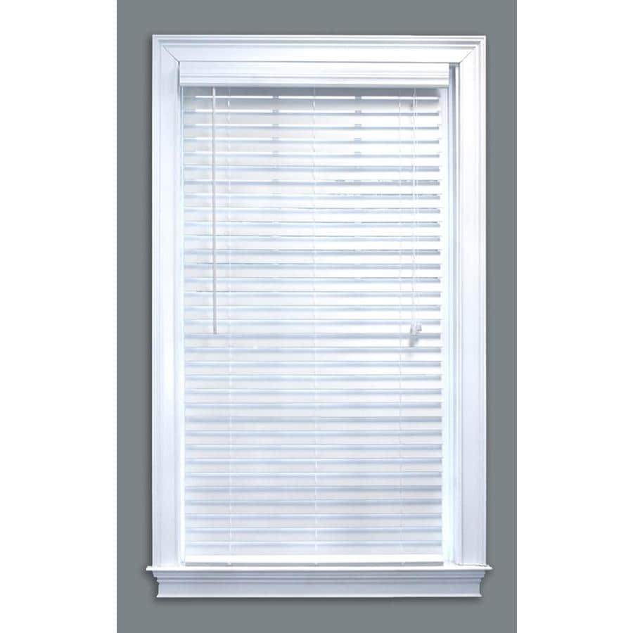 Style Selections 2.0-in White Faux Wood Room Darkening Plantation Blinds (Common 58.0-in; Actual: 57.5-in x 64.0-in)