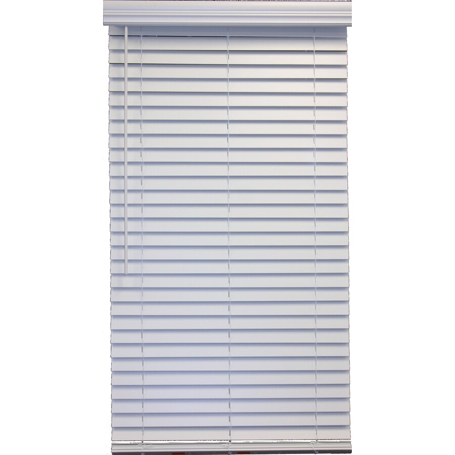 Style Selections 2-in Cordless White Faux Wood Room Darkening Plantation Blinds (Common 35-in; Actual: 34.5-in x 48-in)