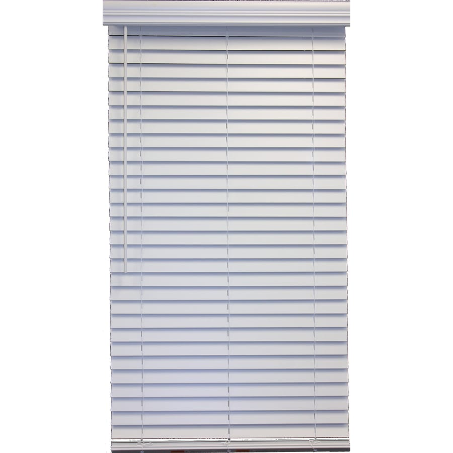 Style Selections 2-in Cordless White Faux Wood Room Darkening Plantation Blinds (Common 71-in; Actual: 70.5-in x 48-in)