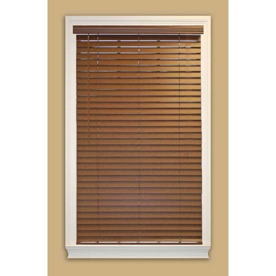 allen + roth 2-in Cordless Bark Faux Wood Room Darkening Plantation Blinds (Actual: 71-in x 48-in)