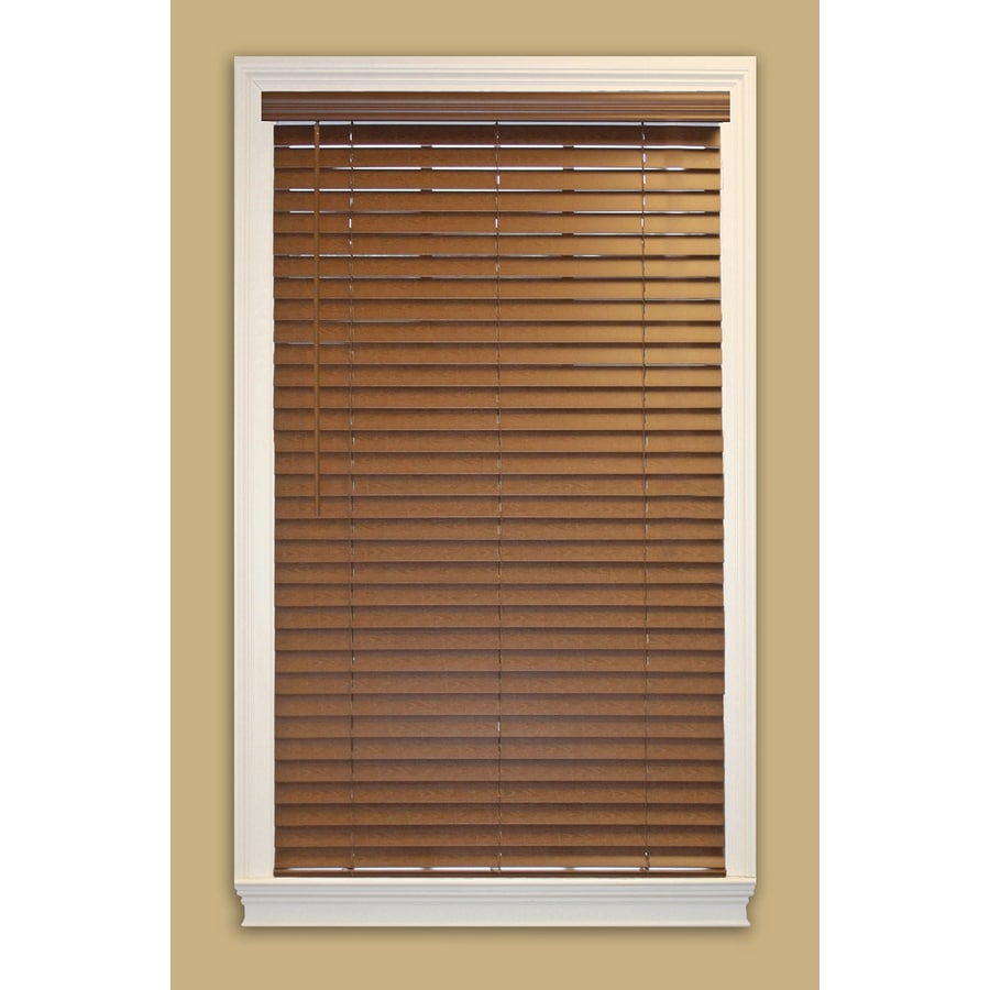 allen + roth 2-in Cordless Bark Faux Wood Room Darkening Plantation Blinds (Actual: 59-in x 64-in)