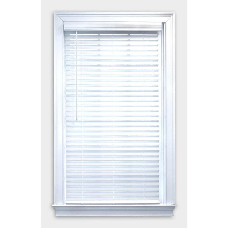 a + r 2-in Cordless White Faux Wood Room Darkening Plantation Blinds (Common: 59-in; Actual: 58.5-in x 64-in)