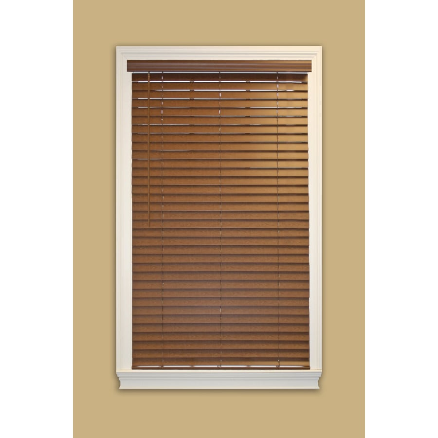 Shop Allen Roth 2 0 In Cordless Bark Faux Wood Room Darkening Horizontal Blinds Common 35 0