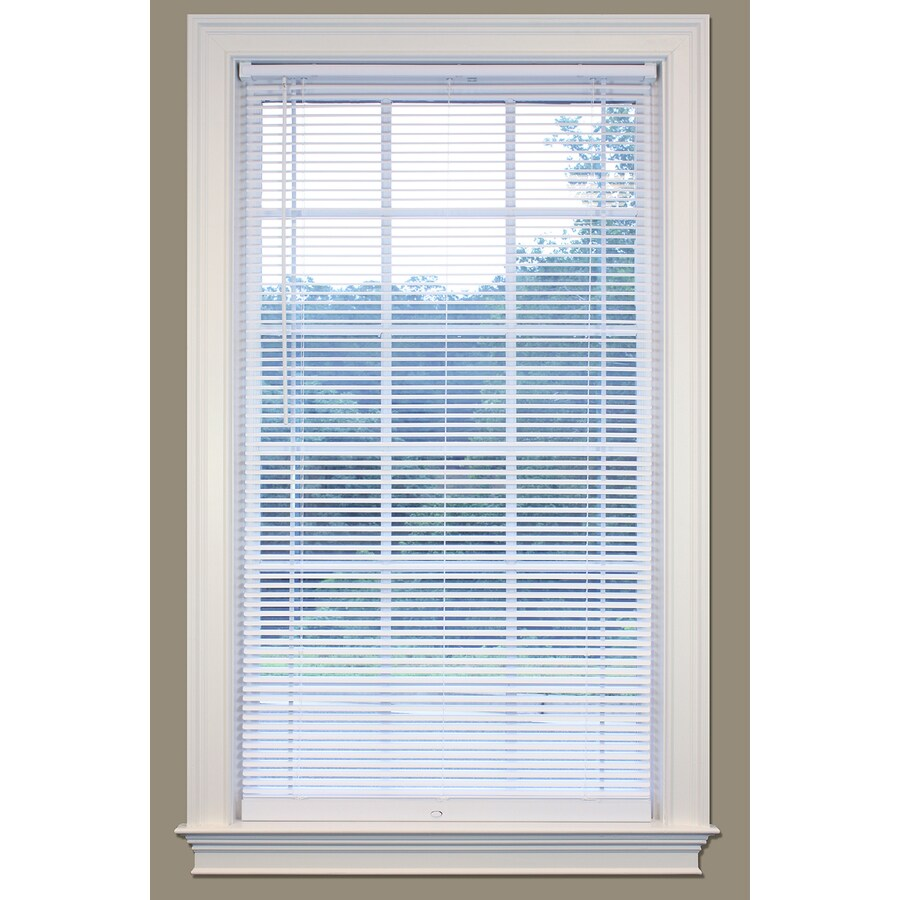 SafeTrac 1-in Cordless White Vinyl Room Darkening Mini-Blinds (Common 27-in; Actual: 26.5-in x 64-in)