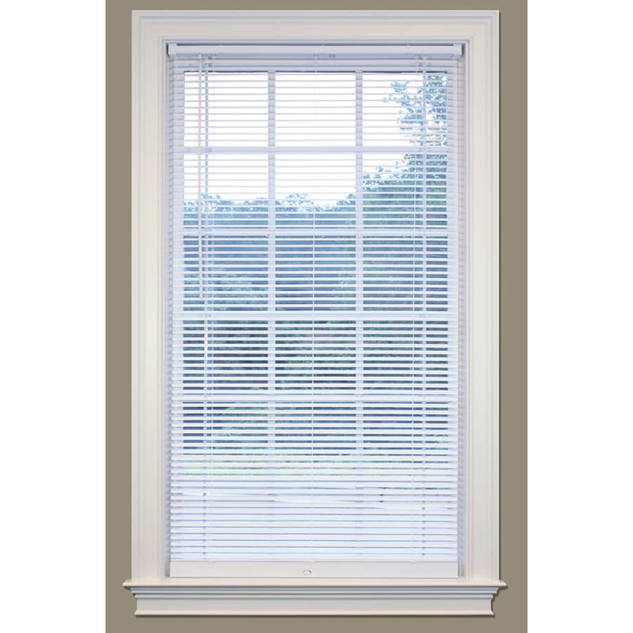 SafeTrac 1-in Cordless White Vinyl Room Darkening Mini-Blinds (Common 43-in; Actual: 42.5-in x 64-in)