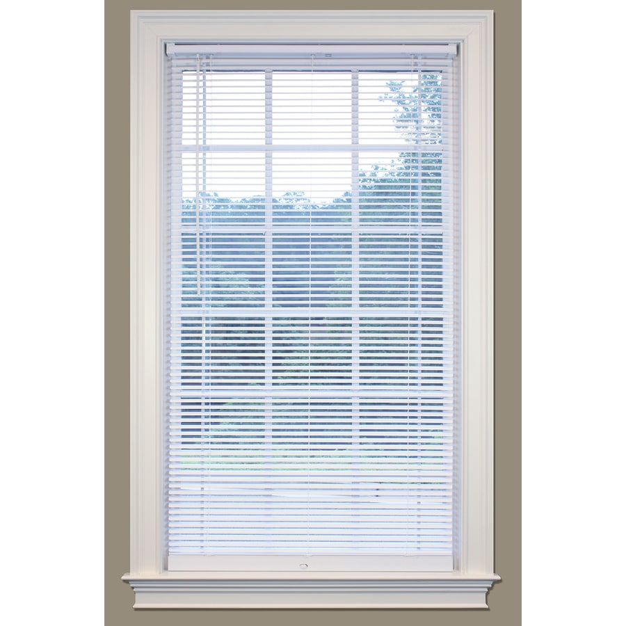 SafeTrac 1-in Cordless White Vinyl Room Darkening Mini-Blinds (Common 59-in; Actual: 58.5-in x 64-in)