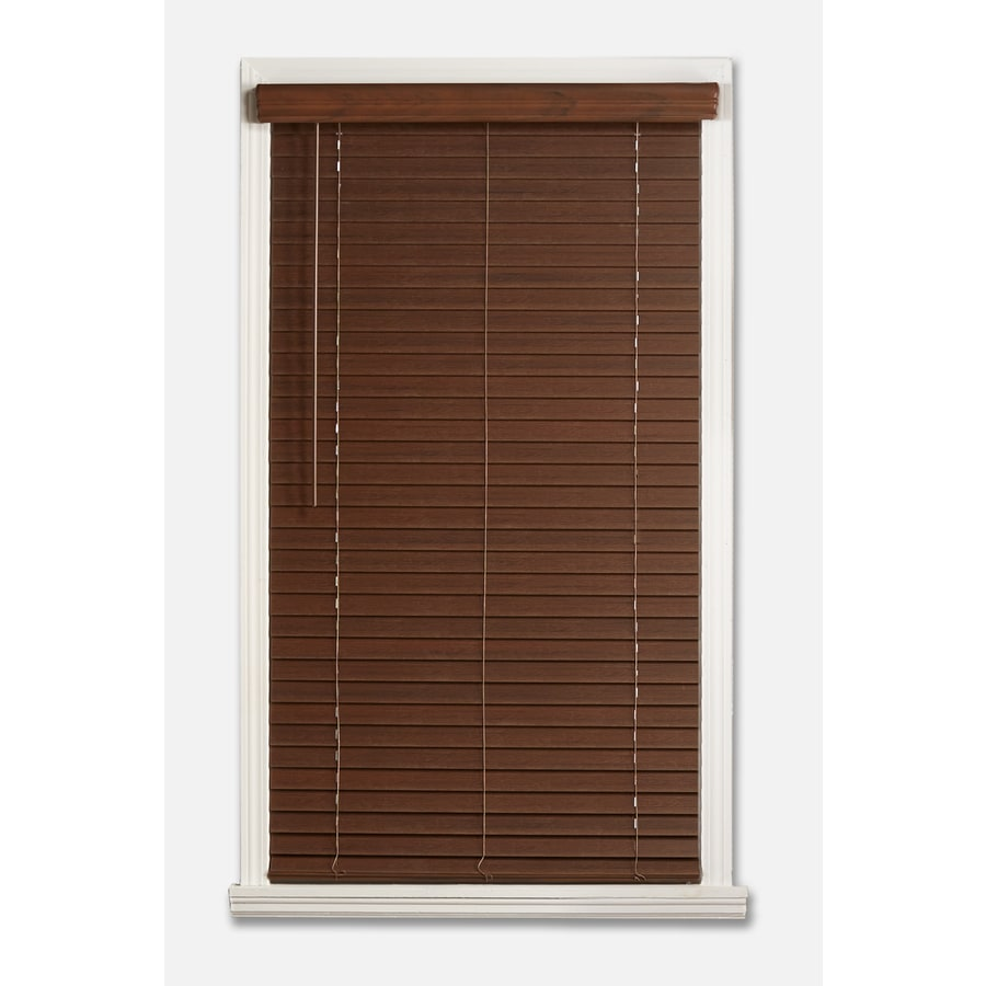 a + r 2-in Cordless Dark Walnut Faux Wood Room Darkening Door Blinds Plantation Blinds (Common 59-in; Actual: 58.5-in x 48-in)