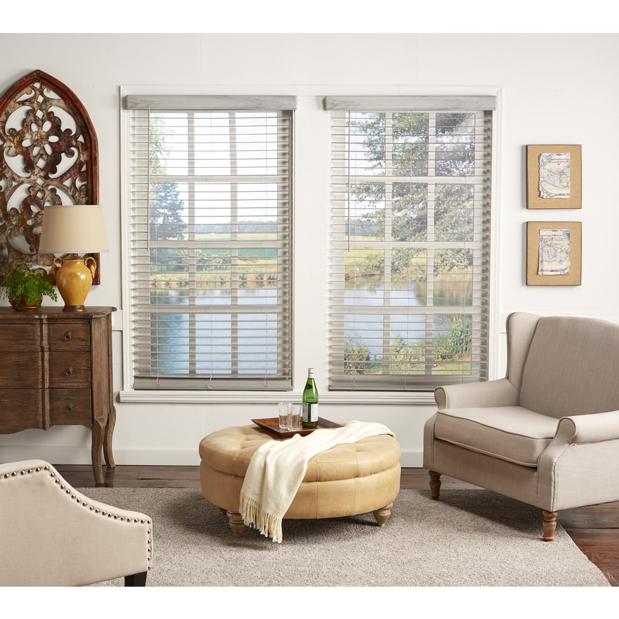 Allen + roth 2-in Cordless Driftwood Gray Faux Wood Room ...