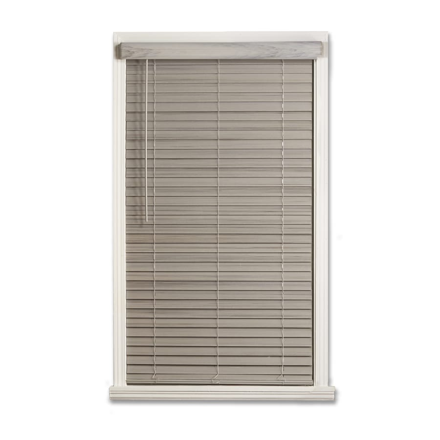 a + r 2-in Cordless Driftwood Gray Faux Wood Room Darkening Door Blinds Plantation Blinds (Common 43-in; Actual: 42.5-in x 64-in)