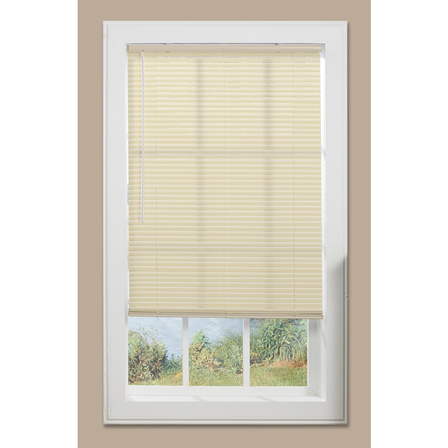 Project Source 1-in Cordless Alabaster Vinyl Light Filtering Mini-Blinds (Common: 63-in; Actual: 62.5-in x 64-in)
