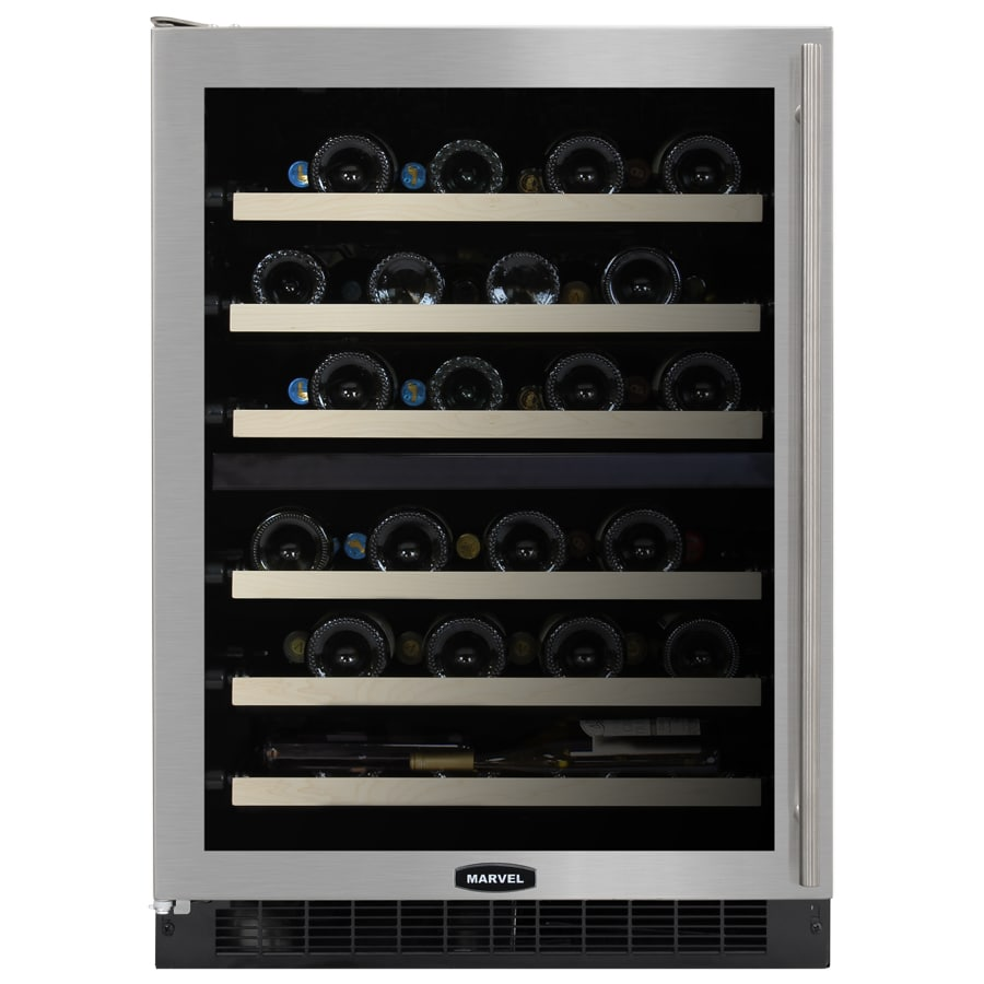 MARVEL 44-Bottle Stainless Steel Dual Zone Built-In Wine Chiller