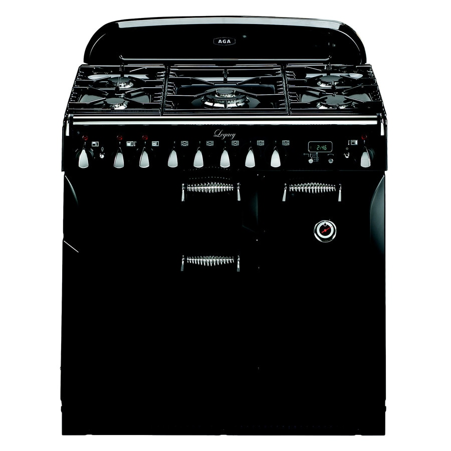 AGA Legacy 36-in 5 2.2-cu ft/1.8-cu ft Double Oven Convection Dual Fuel Range (Black)