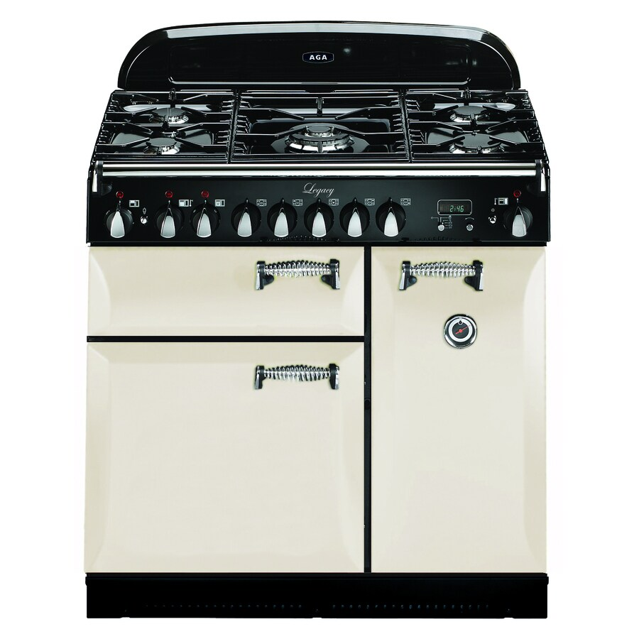 Shop aga legacy 36 in 5 2 2 cu ft 1 8 cu ft double oven convection dual fuel range ivory at - Gas stove double oven reviews ...