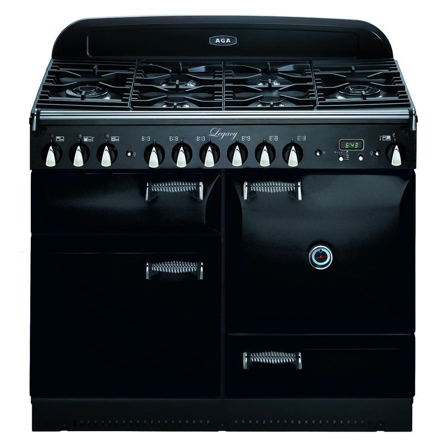 AGA Legacy 44-in 6 2.4-cu ft/2.4-cu ft Double Oven Convection Dual Fuel Range (Black)