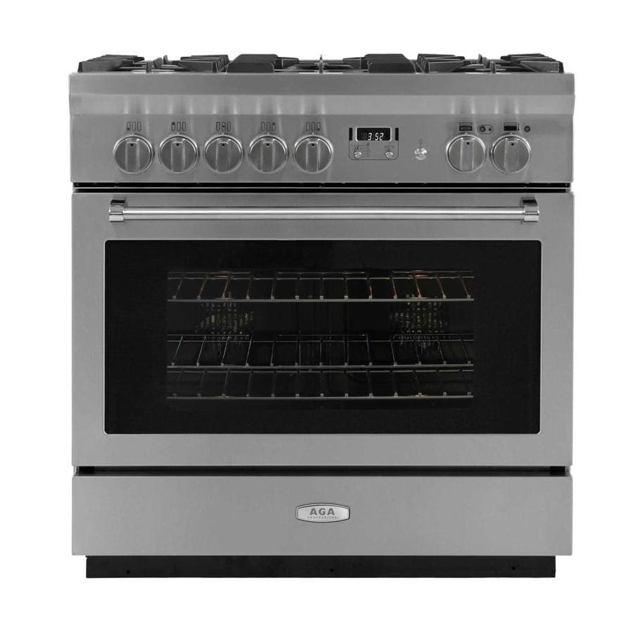 AGA Professional Deep Recessed 5-Burner Self-cleaning Convection Single Oven Dual Fuel Range (Stainless steel) (Common: 36-in; Actual 35.5-in)