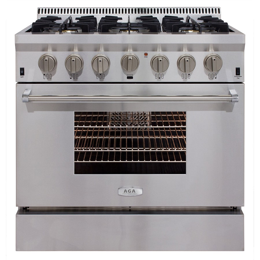 AGA Professional 6-Burner Freestanding 5.2-cu ft Convection Gas Range (Stainless steel) (Common: 36-in; Actual: 36-in)