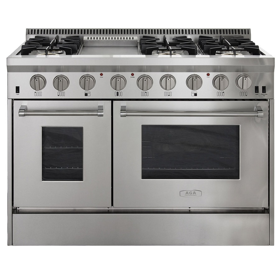 shop aga professional 48 in 6 burner 4 2 cu ft 2 5 cu ft oven convection gas range