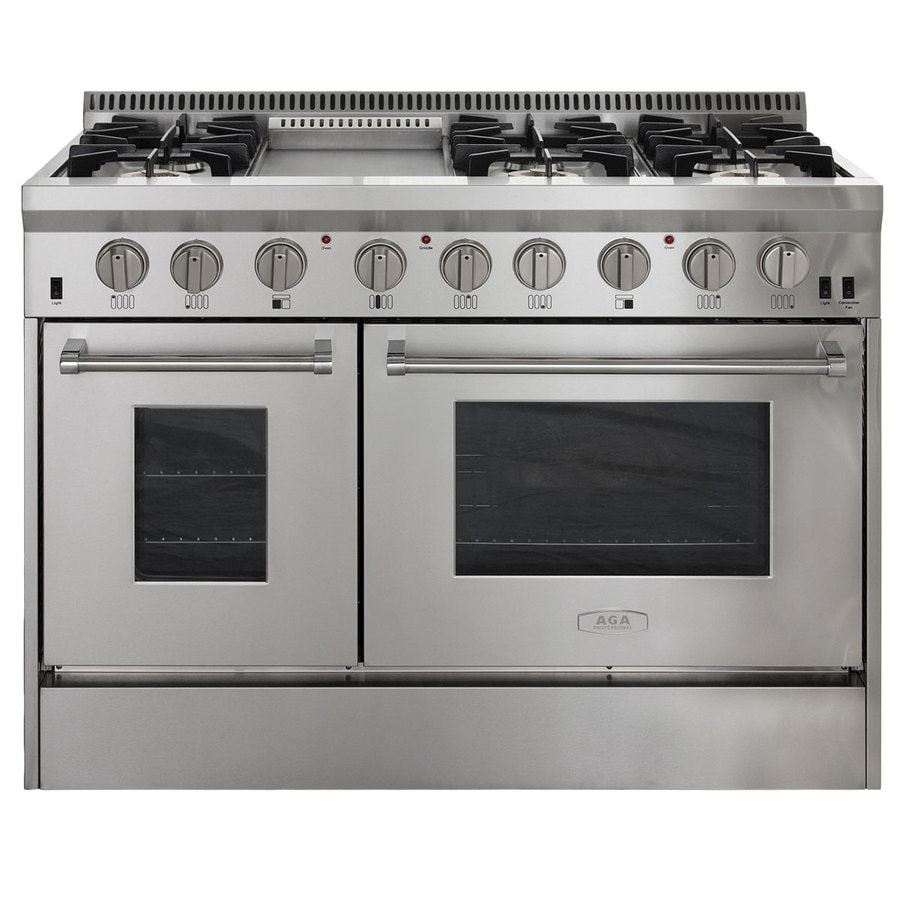 AGA Professional 48-in 6-Burner 4.2-cu ft/2.5-cu ft Double Oven Convection Dual Fuel Range (Stainless Steel)