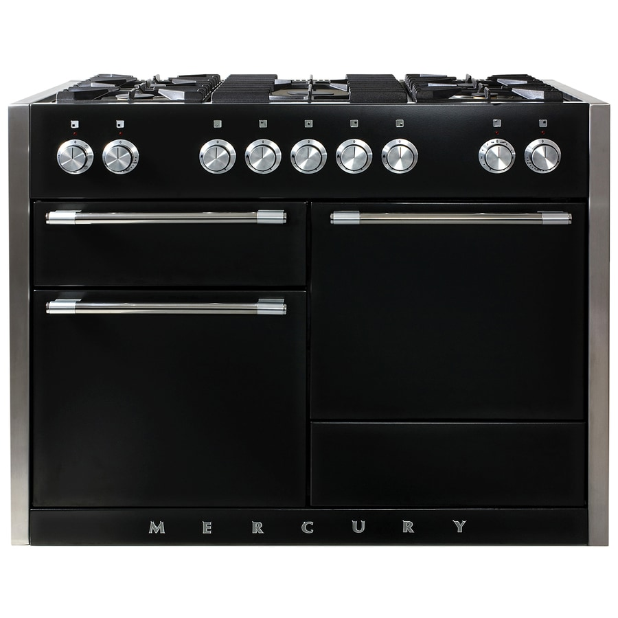 AGA Mercury 48-in 5-Burner 2.8-cu ft/2.8-cu ft Double Oven Convection Dual Fuel Range (Gloss Black)