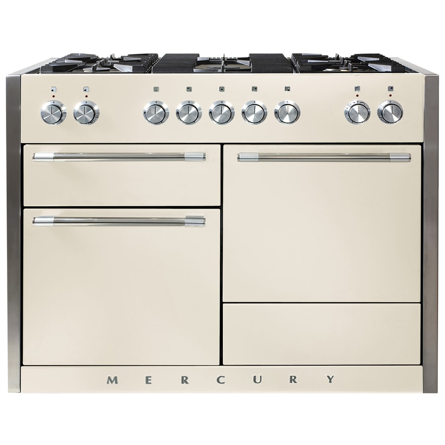 AGA Mercury 48-in 5-Burner 2.8-cu ft/2.8-cu ft Double Oven Convection Dual Fuel Range (Ivory)