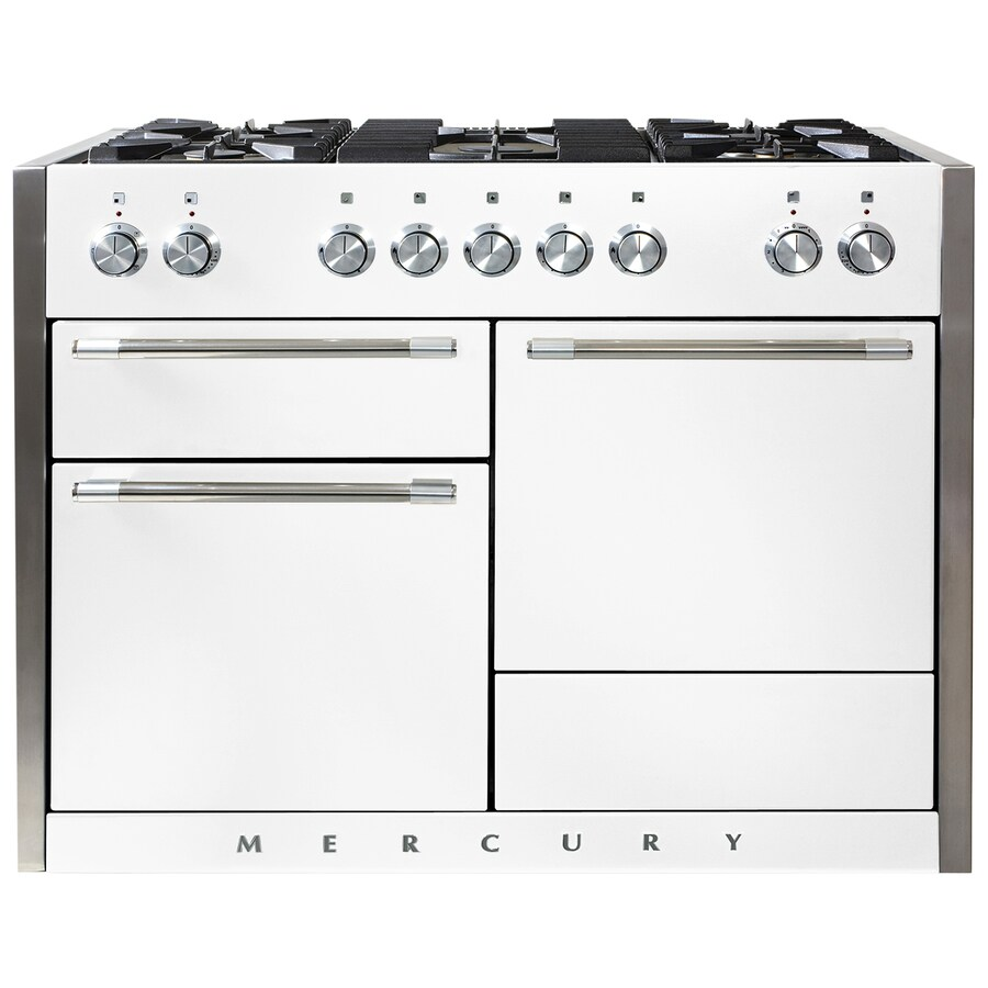 AGA Mercury 48-in 5-Burner 2.8-cu ft/2.8-cu ft Double Oven Convection Dual Fuel Range (White)