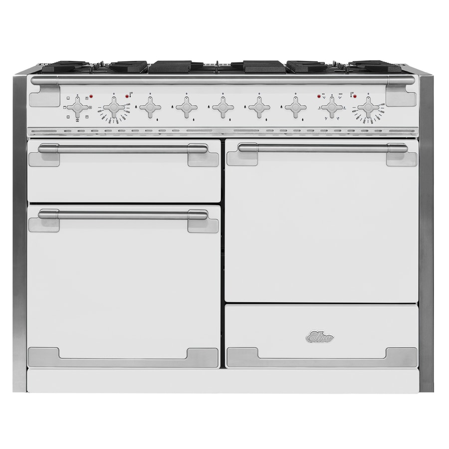 AGA Elise 48-in 5-Burner 2.8-cu ft/2.8-cu ft Double Oven Convection Dual Fuel Range (White)