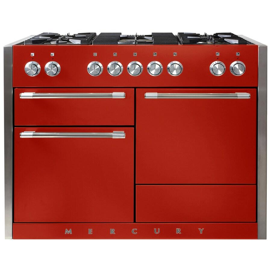 AGA Mercury 48-in 5-Burner 2.8-cu ft/2.8-cu ft Double Oven Convection Dual Fuel Range (Scarlet)