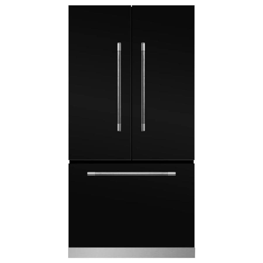 MARVEL Mercury 22.1-cu ft Counter-Depth French Door Refrigerator with Ice Maker (Gloss black)
