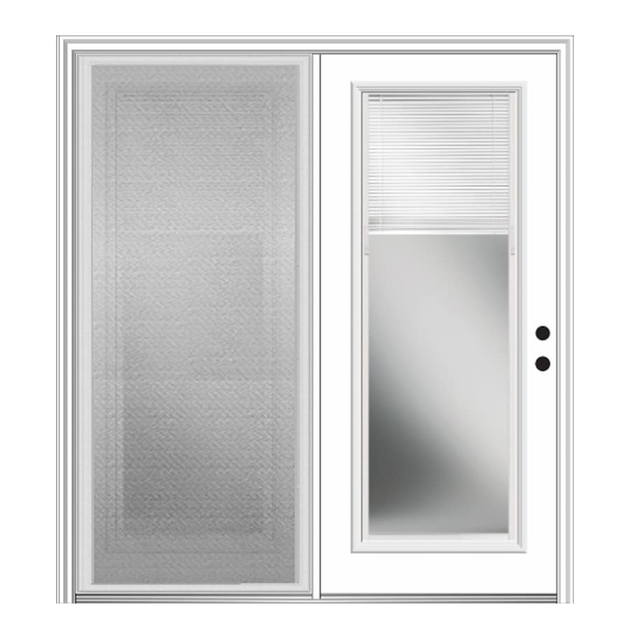 Milliken 63-in x 81.75-in Blinds Between the Glass Left-Hand Inswing Off-White Fiberglass Center-Hinged Patio Door with Screen
