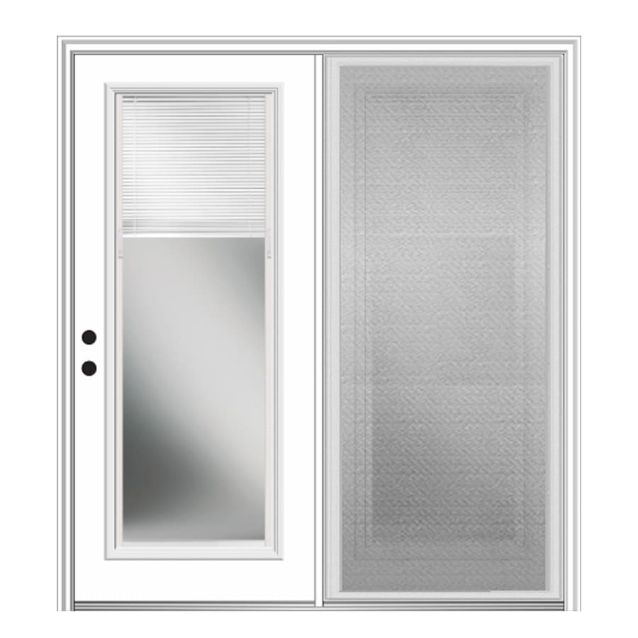 Milliken 75-in x 81.75-in Blinds Between the Glass Right-Hand Inswing Off-White Fiberglass Center-Hinged Patio Door with Screen