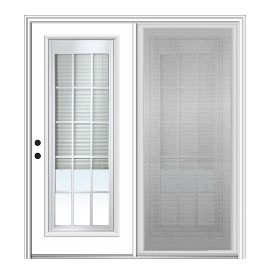 Mmi Door Internal Mini Blinds Between The Gl Fibergl Right Hand Inswing Double Center Hinged Patio With Screen Common 64 In X 80