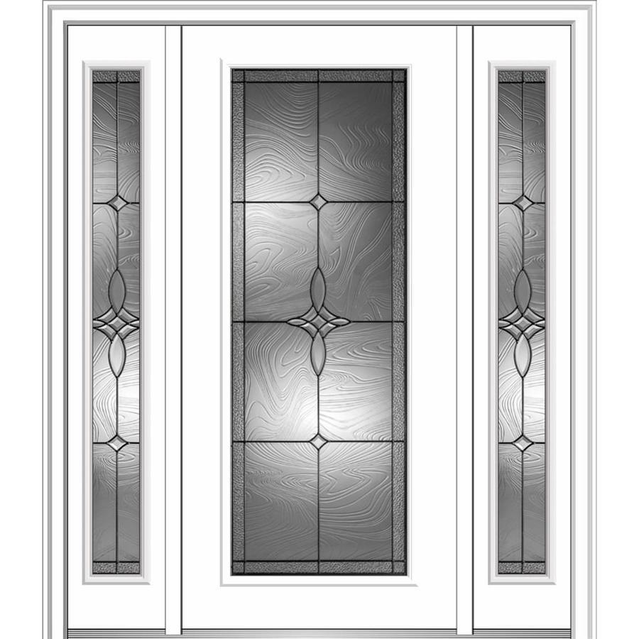 MMI DOOR Full Lite Decorative Glass Left Hand Inswing Primed Fiberglass  Prehung Entry Door With