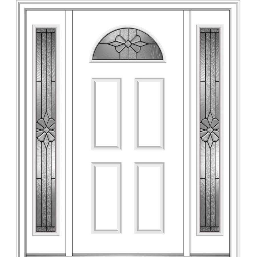 MMI DOOR 1/4 Lite Decorative Glass Right Hand Inswing Primed Steel Prehung  Entry