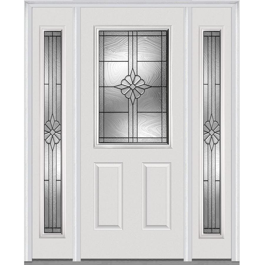Shop Mmi Door Half Lite Decorative Glass Right Hand Inswing Primed Fiberglass Prehung Entry Door