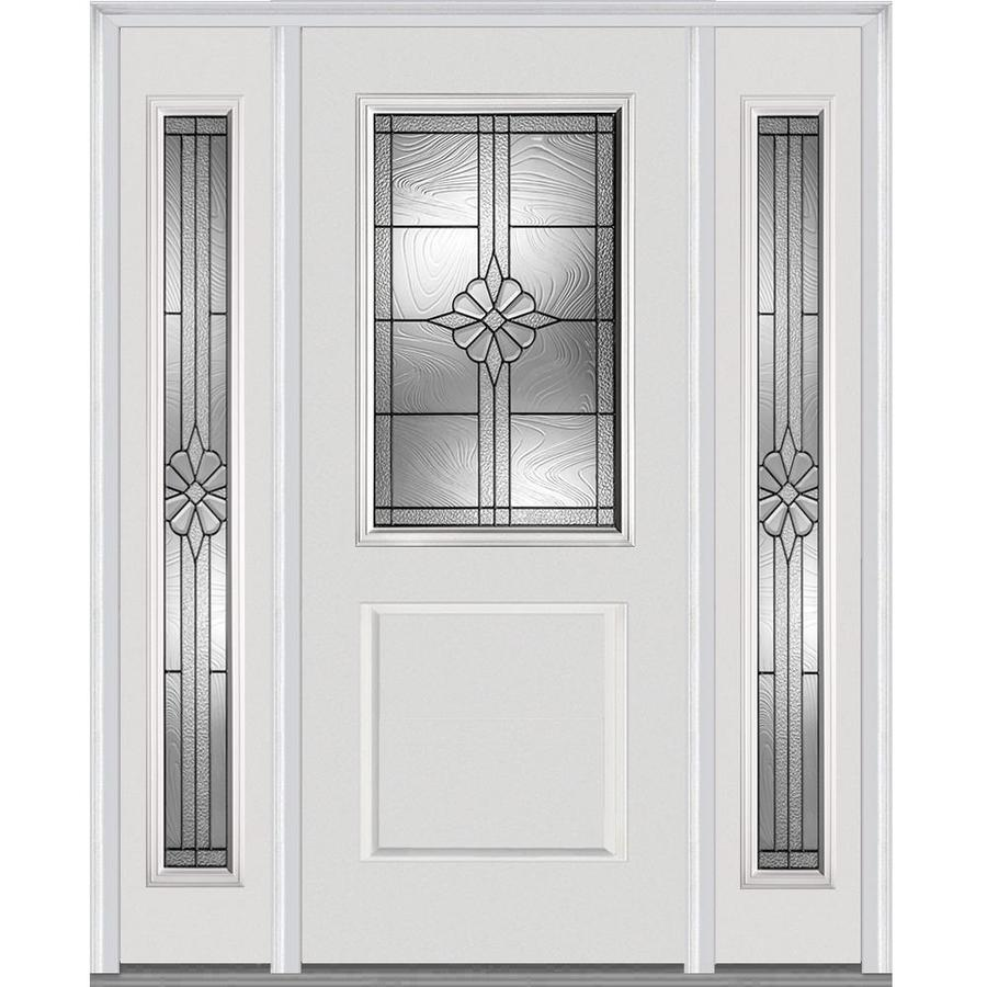 MMI DOOR Half Lite Decorative Glass Right Hand Inswing Primed Fiberglass  Prehung Entry Door With