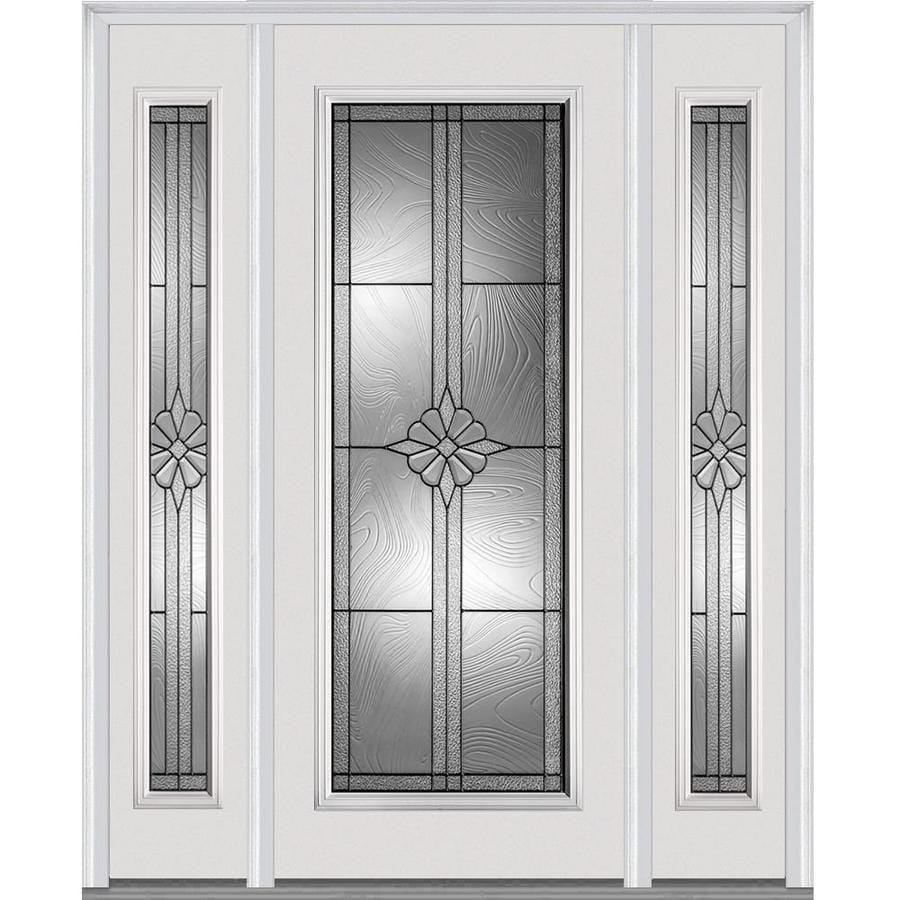 MMI DOOR Full Lite Decorative Glass Right Hand Inswing Primed Steel Prehung  Entry Door With