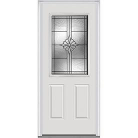 MMI DOOR Half Lite Decorative Glass Right Hand Inswing Primed Fiberglass  Prehung Entry Door With