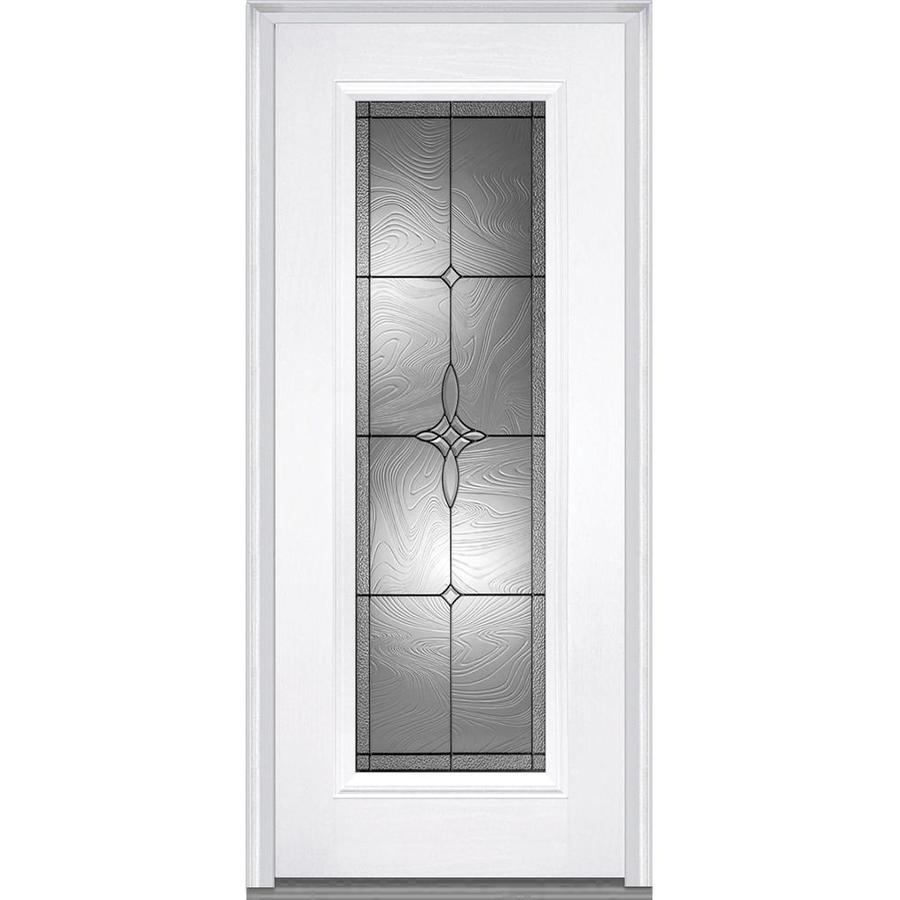 MMI DOOR Full Lite Decorative Glass Left Hand Inswing Primed Fiberglass  Prehung Entry Door With