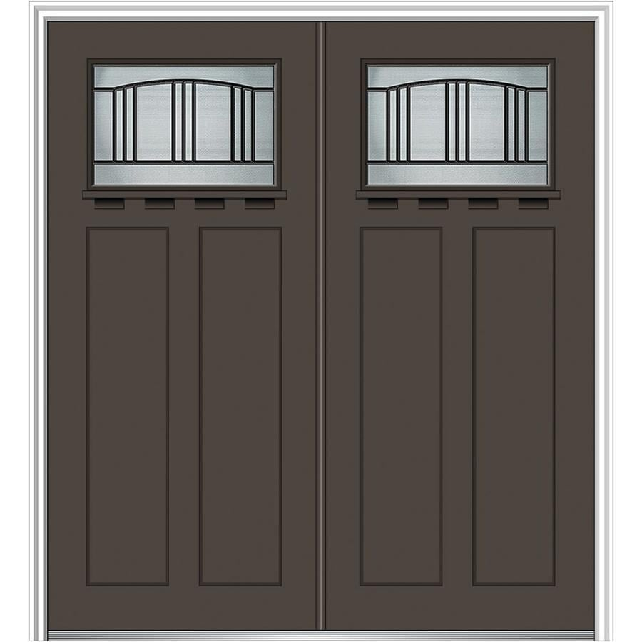Shop mmi door craftsman decorative glass right hand for Fiberglass entry doors with glass