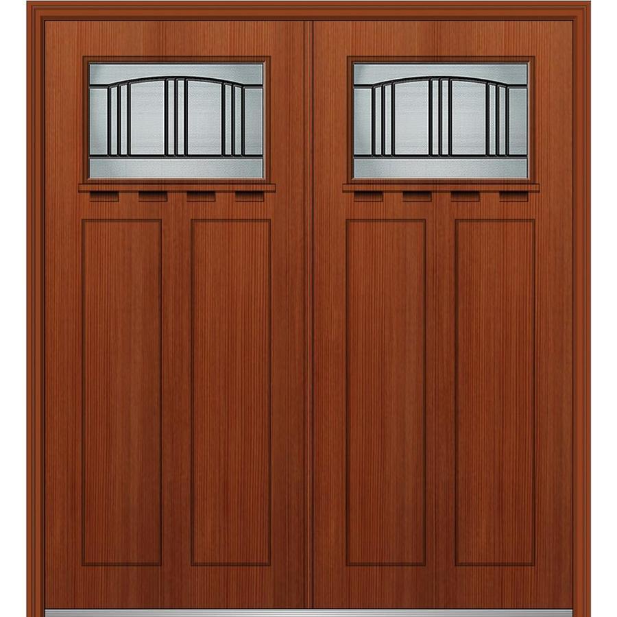 craftsman double front door. MMI DOOR Craftsman Decorative Glass Left-Hand Inswing Mahogany Stained Fiberglass Prehung Double Entry Door Front L