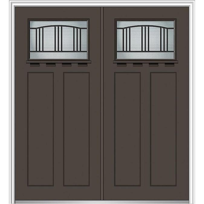 Mmi Door Craftsman Decorative Glass Left Hand Inswing Brown Painted Fiberglass Prehung Double Entry Door With Insulating Core Common 64 In X 80 In Actual 66 In X 81 75 In In The Front Doors Department At Lowes Com A door that opens in. mmi door craftsman decorative glass