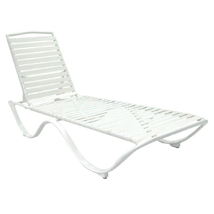 Attrayant Garden Treasures Strap Seat Aluminum Patio Chaise Lounge