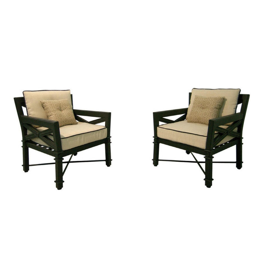 Shop Garden Treasures 2 Pack Manchester Patio Chairs With Cushions At