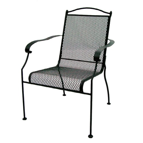 Garden Treasures Hanover Mesh Seat Wrought Iron Patio Dining Chair At Lowes Com