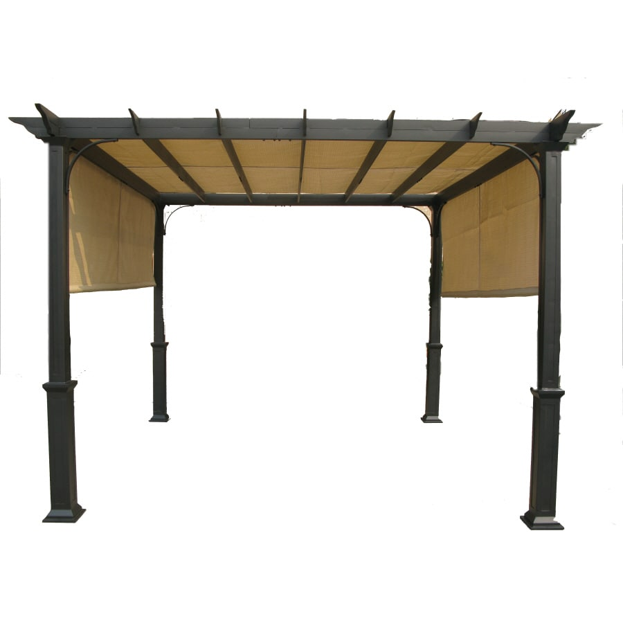 Garden Treasures Matte Black Steel Freestanding Pergola