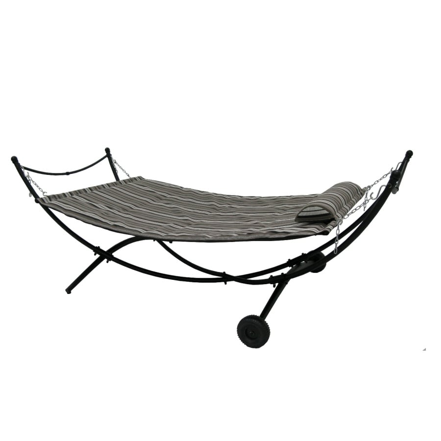garden treasures fabric hammock with stand shop hammocks at lowes    rh   lowes